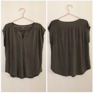 LOFT Olive Green Soft Loose Fit T Shirt Blouse
